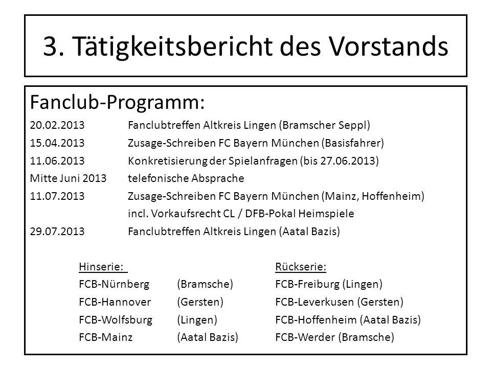 3. Tätigkeitsbericht des Vorstands Fanclub-Programm: 20.02.2013Fanclubtreffen Altkreis Lingen (Bramscher Seppl) 15.04.2013Zusage-Schreiben FC Bayern M