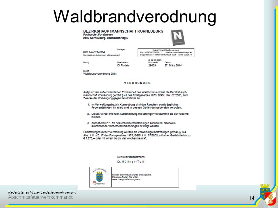 Niederösterreichischer Landesfeuerwehrverband Abschnittsfeuerwehrkommando Waldbrandverodnung 14