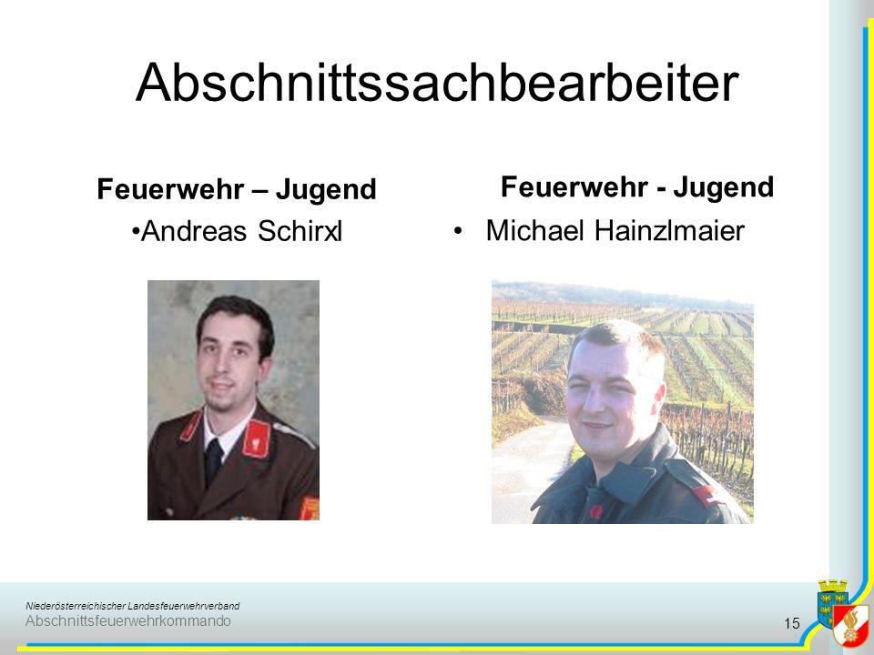 Niederösterreichischer Landesfeuerwehrverband Abschnittsfeuerwehrkommando Abschnittssachbearbeiter Feuerwehr – Jugend Andreas Schirxl Feuerwehr - Juge