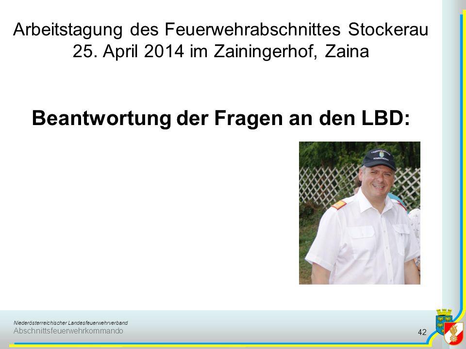Niederösterreichischer Landesfeuerwehrverband Abschnittsfeuerwehrkommando Arbeitstagung des Feuerwehrabschnittes Stockerau 25. April 2014 im Zaininger