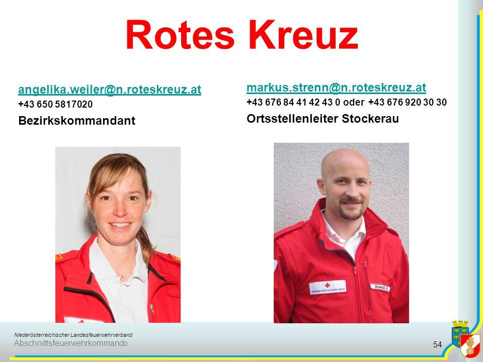 Niederösterreichischer Landesfeuerwehrverband Abschnittsfeuerwehrkommando Rotes Kreuz angelika.weiler@n.roteskreuz.at +43 650 5817020 Bezirkskommandant markus.strenn@n.roteskreuz.at +43 676 84 41 42 43 0 oder +43 676 920 30 30 Ortsstellenleiter Stockerau 54