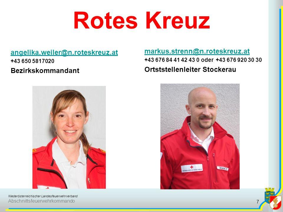 Niederösterreichischer Landesfeuerwehrverband Abschnittsfeuerwehrkommando Rotes Kreuz angelika.weiler@n.roteskreuz.at +43 650 5817020 Bezirkskommandan