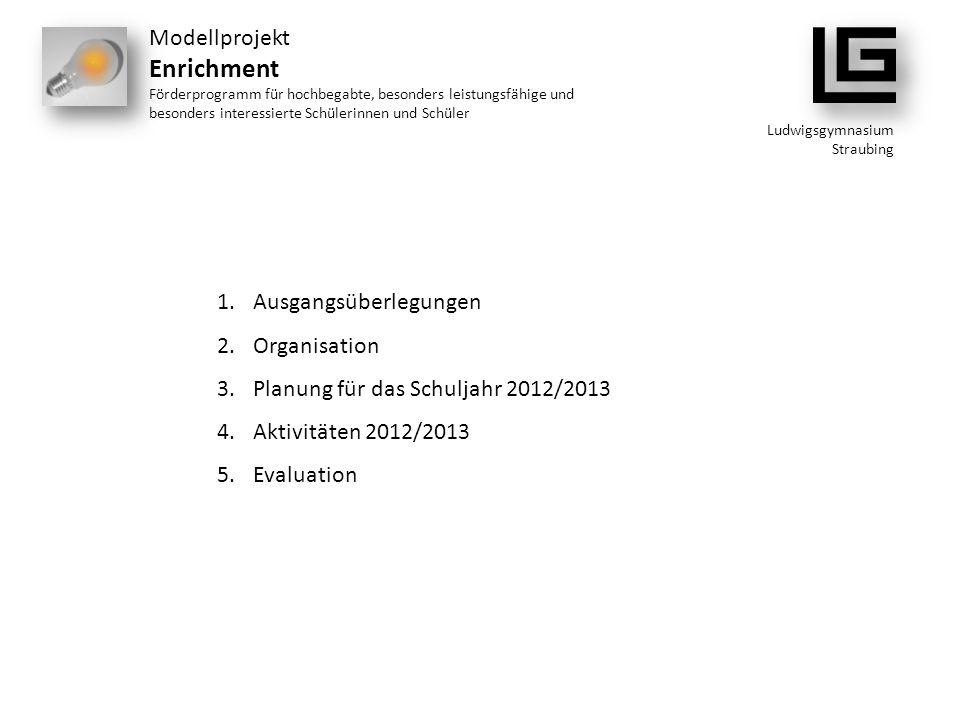Ludwigsgymnasium Straubing Modellprojekt Enrichment Förderprogramm für hochbegabte, besonders leistungsfähige und besonders interessierte Schülerinnen