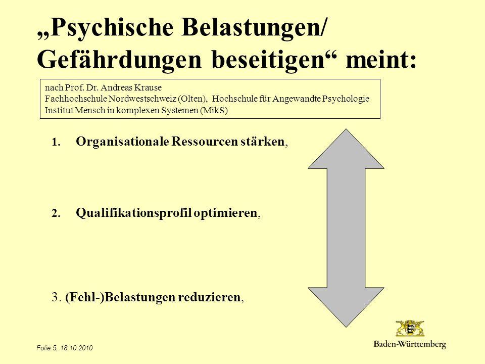 Folie 5, 18.10.2010 Psychische Belastungen/ Gefährdungen beseitigen meint: 1. Organisationale Ressourcen stärken, 2. Qualifikationsprofil optimieren,
