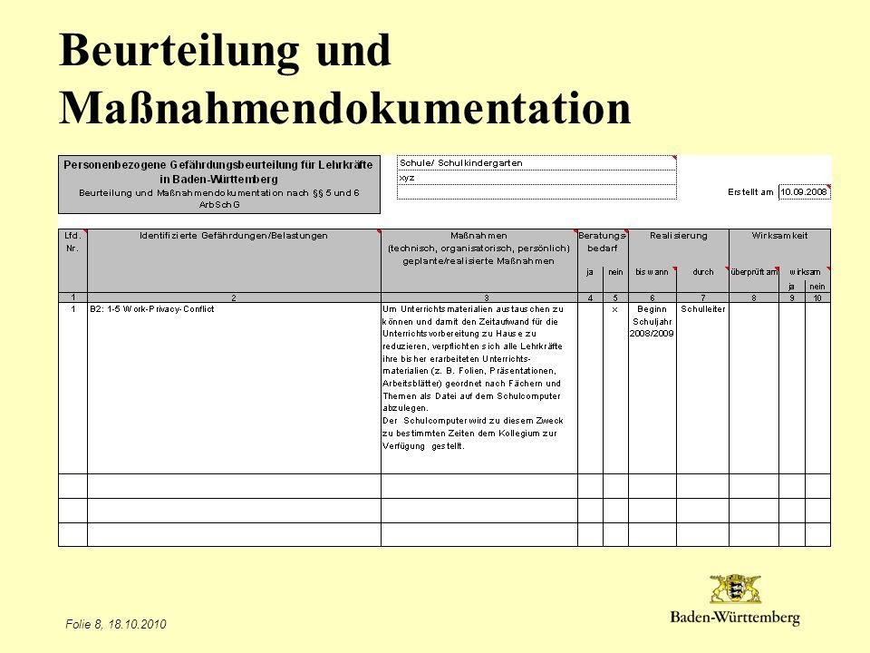 Folie 8, 18.10.2010 Beurteilung und Maßnahmendokumentation