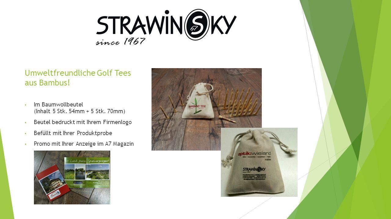 Umweltfreundliche Golf Tees aus Bambus. Im Baumwollbeutel (Inhalt 5 Stk.