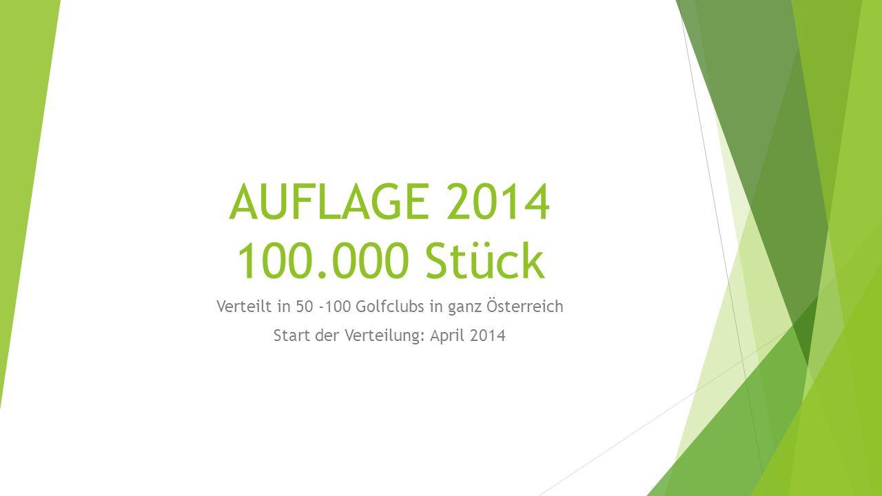 AUFLAGE 2014 100.000 Stück Verteilt in 50 -100 Golfclubs in ganz Österreich Start der Verteilung: April 2014