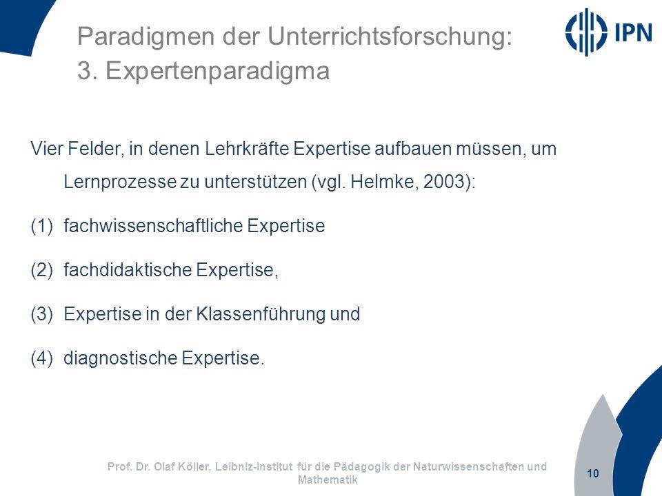 10 Prof. Dr. Olaf Köller, Leibniz-Institut für die Pädagogik der Naturwissenschaften und Mathematik Paradigmen der Unterrichtsforschung: 3. Expertenpa