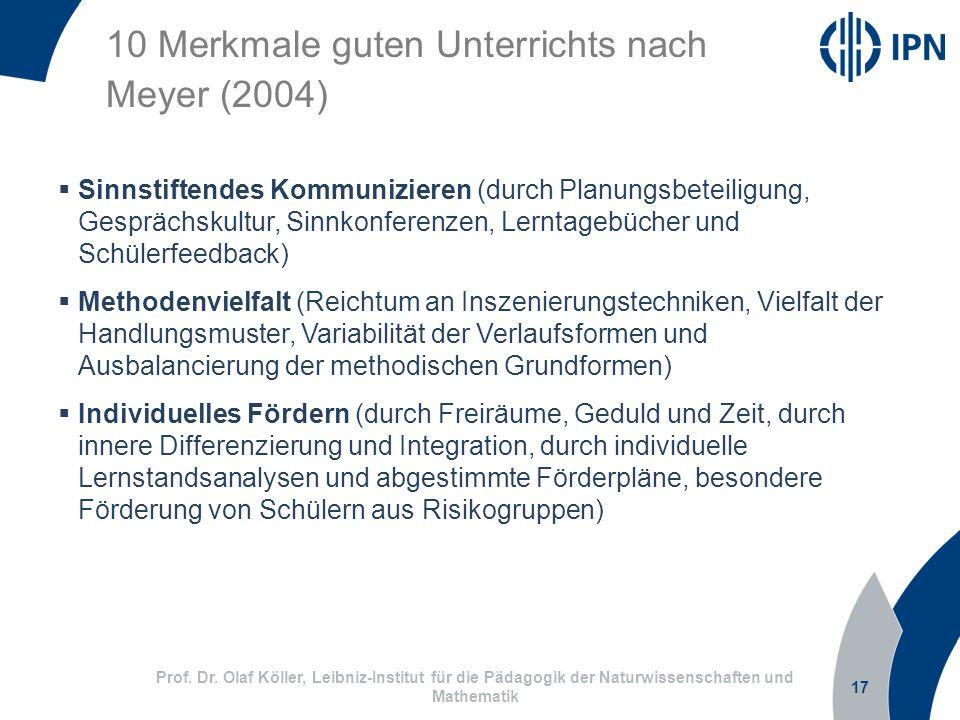 17 Prof. Dr. Olaf Köller, Leibniz-Institut für die Pädagogik der Naturwissenschaften und Mathematik 10 Merkmale guten Unterrichts nach Meyer (2004) Si