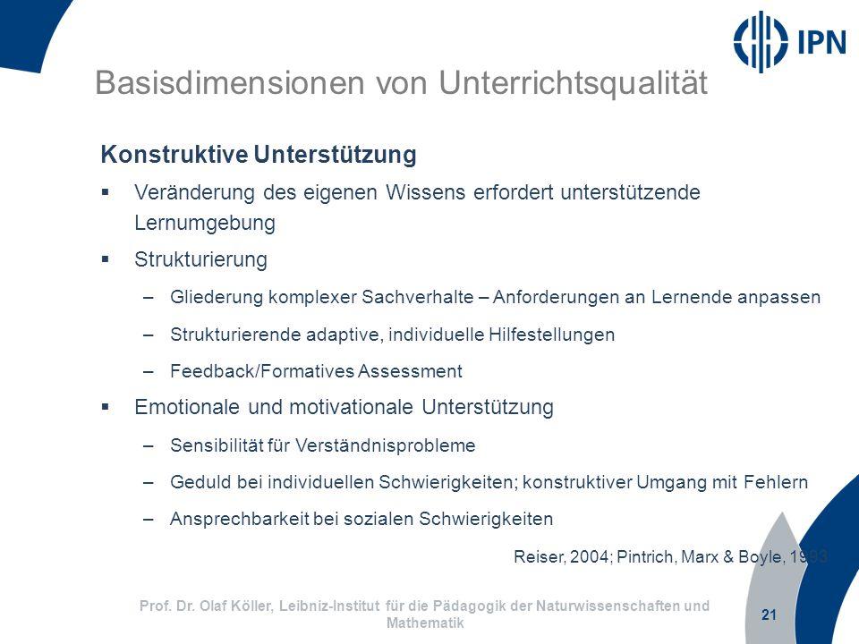 21 Prof. Dr. Olaf Köller, Leibniz-Institut für die Pädagogik der Naturwissenschaften und Mathematik Basisdimensionen von Unterrichtsqualität Konstrukt