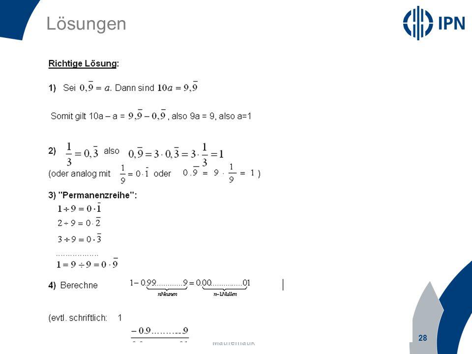 Lösungen 28 Prof. Dr. Olaf Köller, Leibniz-Institut für die Pädagogik der Naturwissenschaften und Mathematik
