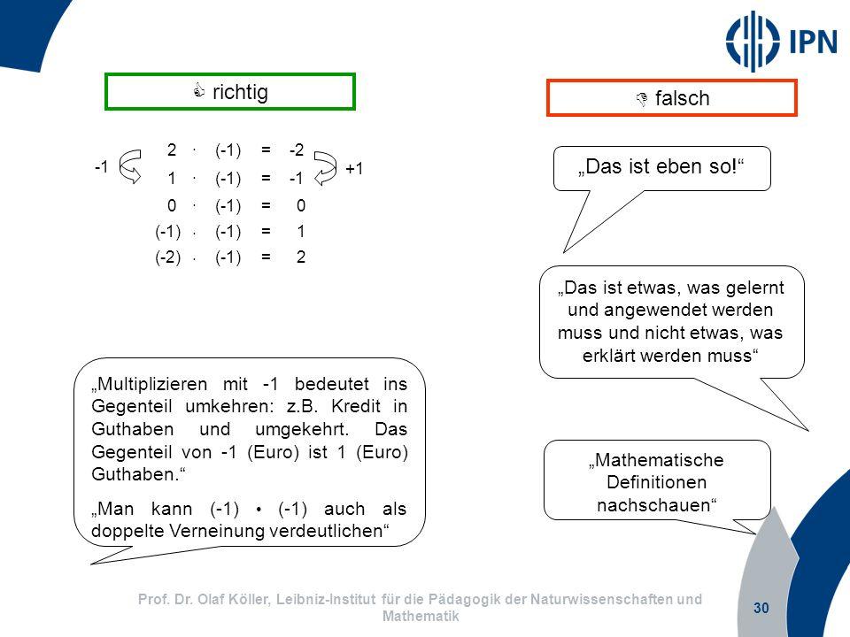 30 Prof. Dr. Olaf Köller, Leibniz-Institut für die Pädagogik der Naturwissenschaften und Mathematik Multiplizieren mit -1 bedeutet ins Gegenteil umkeh