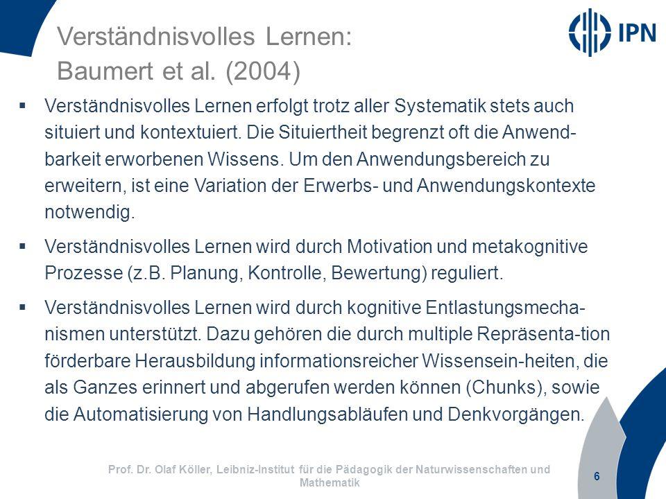 6 Prof. Dr. Olaf Köller, Leibniz-Institut für die Pädagogik der Naturwissenschaften und Mathematik Verständnisvolles Lernen: Baumert et al. (2004) Ver
