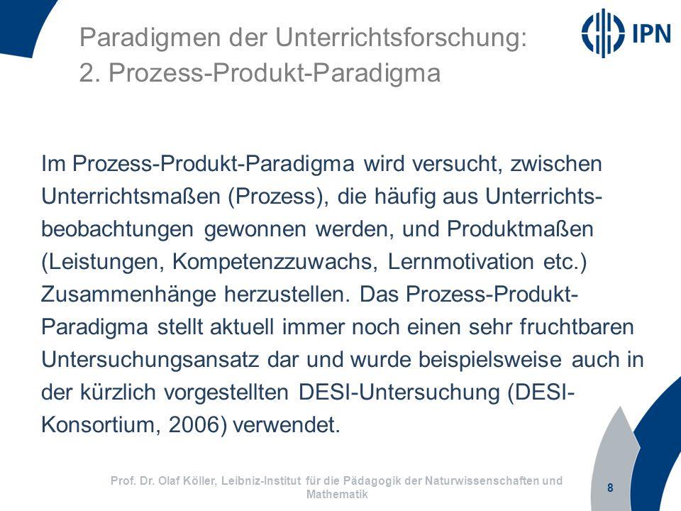 8 Prof. Dr. Olaf Köller, Leibniz-Institut für die Pädagogik der Naturwissenschaften und Mathematik Paradigmen der Unterrichtsforschung: 2. Prozess-Pro
