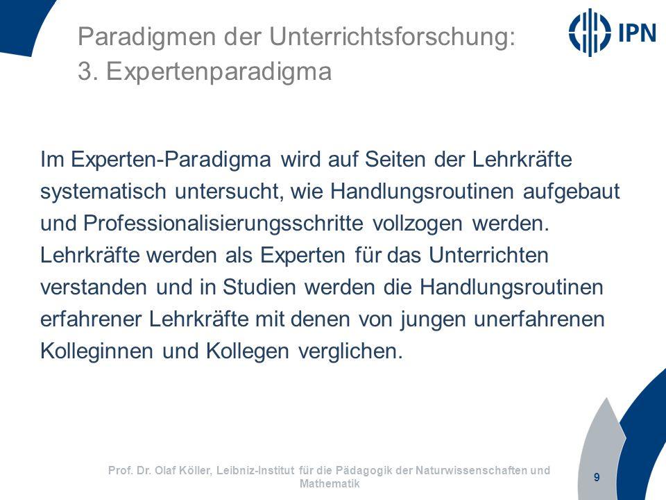 9 Prof. Dr. Olaf Köller, Leibniz-Institut für die Pädagogik der Naturwissenschaften und Mathematik Paradigmen der Unterrichtsforschung: 3. Expertenpar