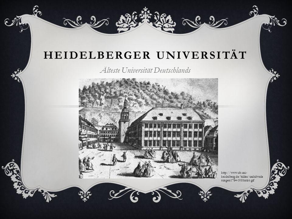 HEIDELBERGER UNIVERSITÄT Älteste Universität Deutschlands http://www.ub.uni- heidelberg.de/bilder/unihdvorle sungen1784-1930intro.gif