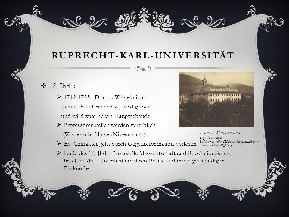 RUPRECHT-KARL-UNIVERSITÄT 18. Jhd. : 1712-1735 : Domus Wilhelmiana (heute: Alte Universität) wird gebaut und wird zum neuen Hauptgebäude Professorenst