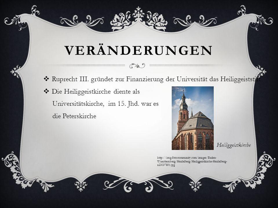 VERÄNDERUNGEN Ruprecht III. gründet zur Finanzierung der Universität das Heiliggeiststift Die Heiliggeistkirche diente als Universitätskirche, im 15.