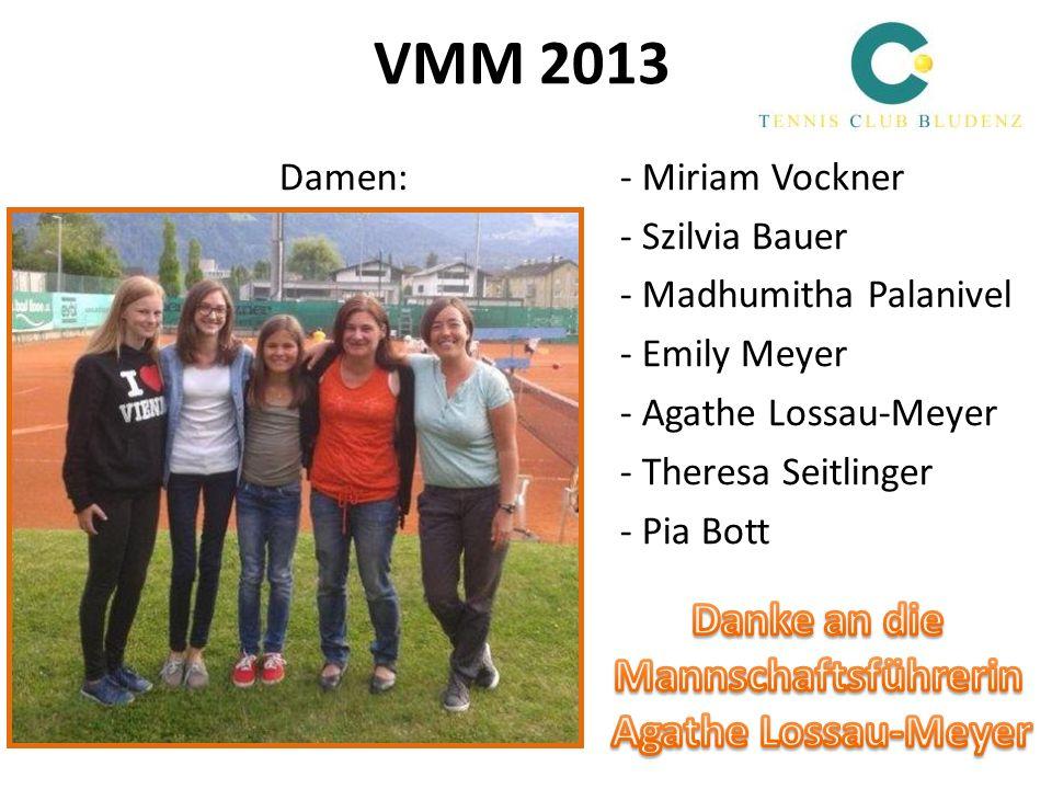 VMM 2013 Damen:- Miriam Vockner - Szilvia Bauer - Madhumitha Palanivel - Emily Meyer - Agathe Lossau-Meyer - Theresa Seitlinger - Pia Bott
