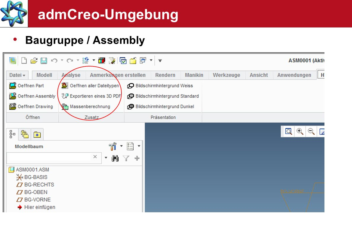 admCreo-Umgebung Baugruppe / Assembly Normteilbibliothek auf Basis von Familientabellen