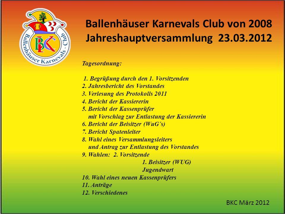 Ballenhäuser Karnevals Club von 2008 Jahreshauptversammlung 23.03.2012 BKC März 2012 Tagesordnung: 1.