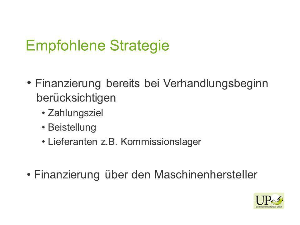 Empfohlene Strategie Finanzierung bereits bei Verhandlungsbeginn berücksichtigen Zahlungsziel Beistellung Lieferanten z.B.