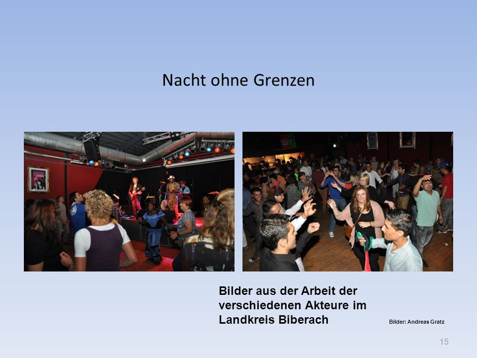 Nacht ohne Grenzen 15 Bilder aus der Arbeit der verschiedenen Akteure im Landkreis Biberach Bilder: Andreas Gratz