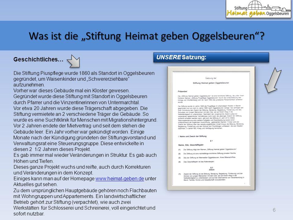 Was ist die Stiftung Heimat geben Oggelsbeuren? 6 UNSERE Satzung: Die Stiftung Piuspflege wurde 1860 als Standort in Oggelsbeuren gegründet, um Waisen