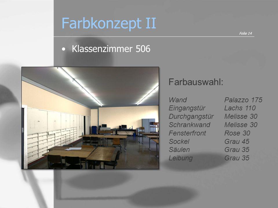 Farbkonzept II Klassenzimmer 506 Folie 14 Farbauswahl: WandPalazzo 175 EingangstürLachs 110 Durchgangstür Melisse 30 Schrankwand Melisse 30 Fensterfro