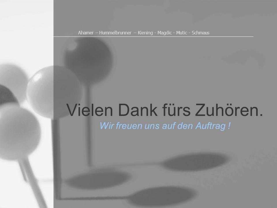 Ahamer – Hummelbrunner – Kiening - Magdic - Mutic - Schmaus Vielen Dank fürs Zuhören. Wir freuen uns auf den Auftrag !