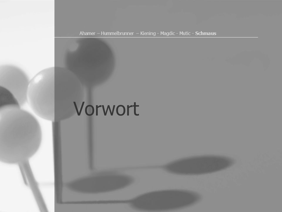Vorwort Ahamer – Hummelbrunner – Kiening - Magdic - Mutic - Schmaus
