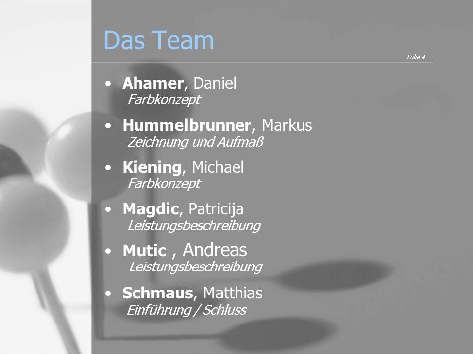 Das Team Ahamer, Daniel Farbkonzept Hummelbrunner, Markus Zeichnung und Aufmaß Kiening, Michael Farbkonzept Magdic, Patricija Leistungsbeschreibung Mu
