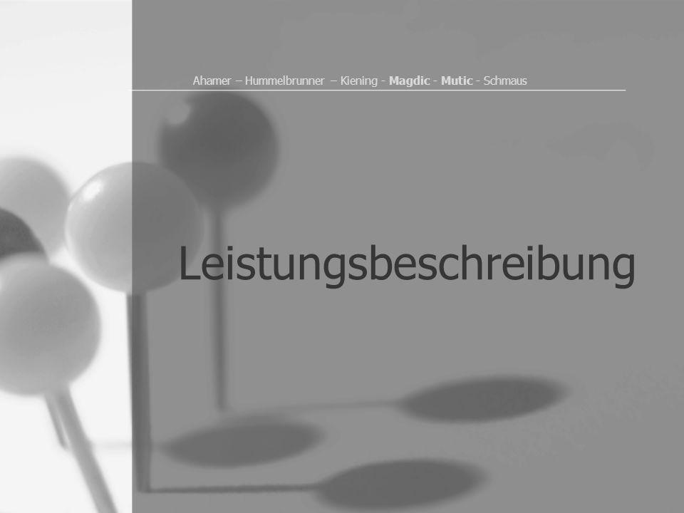 Ahamer – Hummelbrunner – Kiening - Magdic - Mutic - Schmaus Leistungsbeschreibung