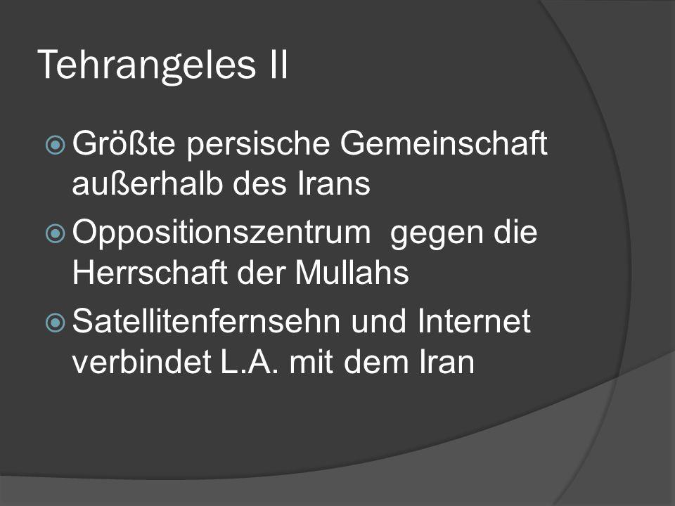Tehrangeles II Größte persische Gemeinschaft außerhalb des Irans Oppositionszentrum gegen die Herrschaft der Mullahs Satellitenfernsehn und Internet v