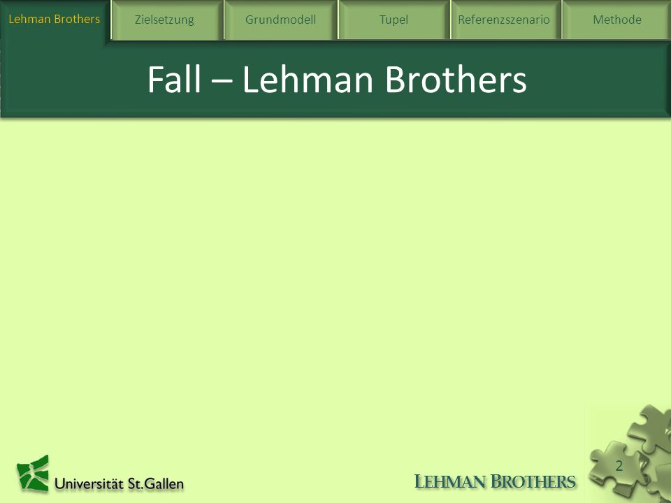 Lehman BrothersZielsetzung Grundmodell TupelReferenzszenarioMethode L EHMAN B ROTHERS 3 Zielsetzung des Veränderungsprojektes Zielsetzung