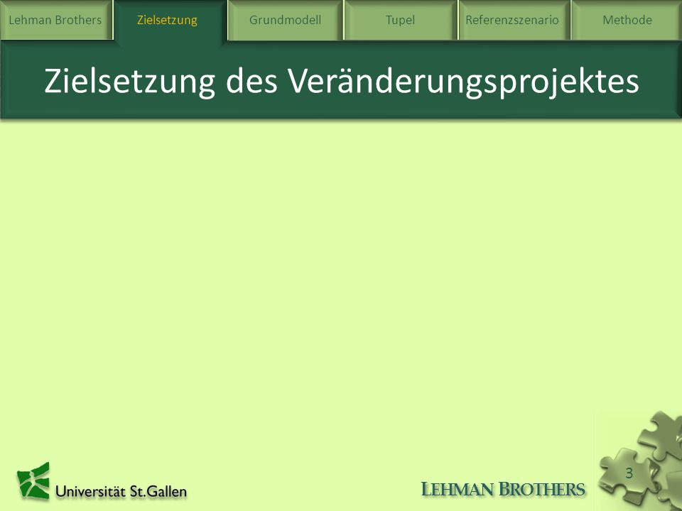Lehman BrothersZielsetzung Grundmodell TupelReferenzszenarioMethode L EHMAN B ROTHERS 4 Beschreibung des Grundmodells Grundmodell