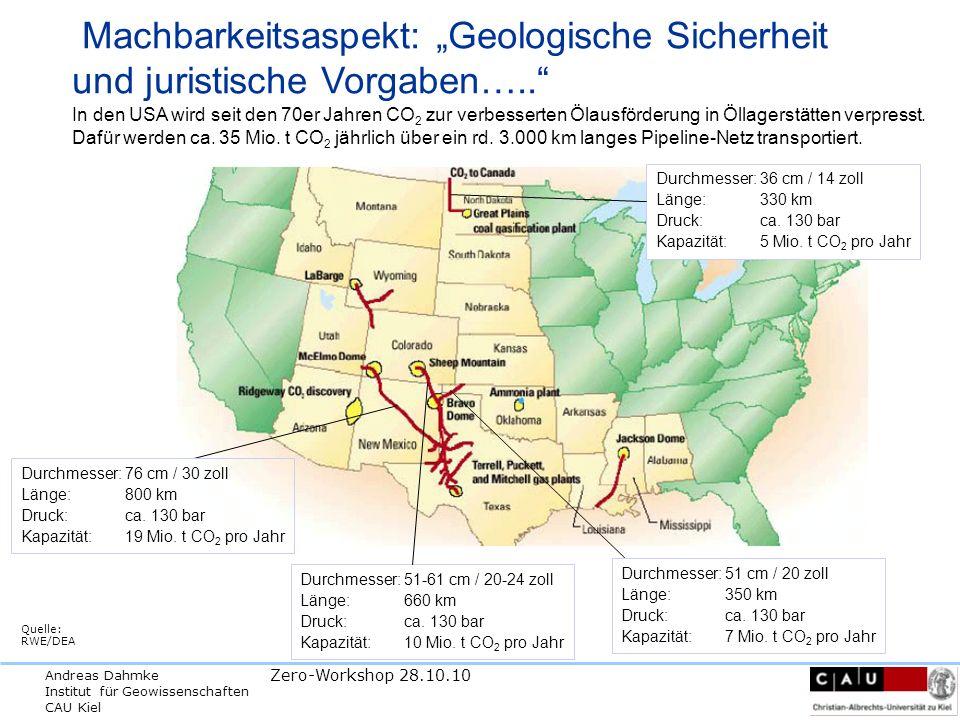 Andreas Dahmke Institut für Geowissenschaften CAU Kiel Zero-Workshop 28.10.10 Machbarkeitsaspekt: Geologische Sicherheit und juristische Vorgaben…..