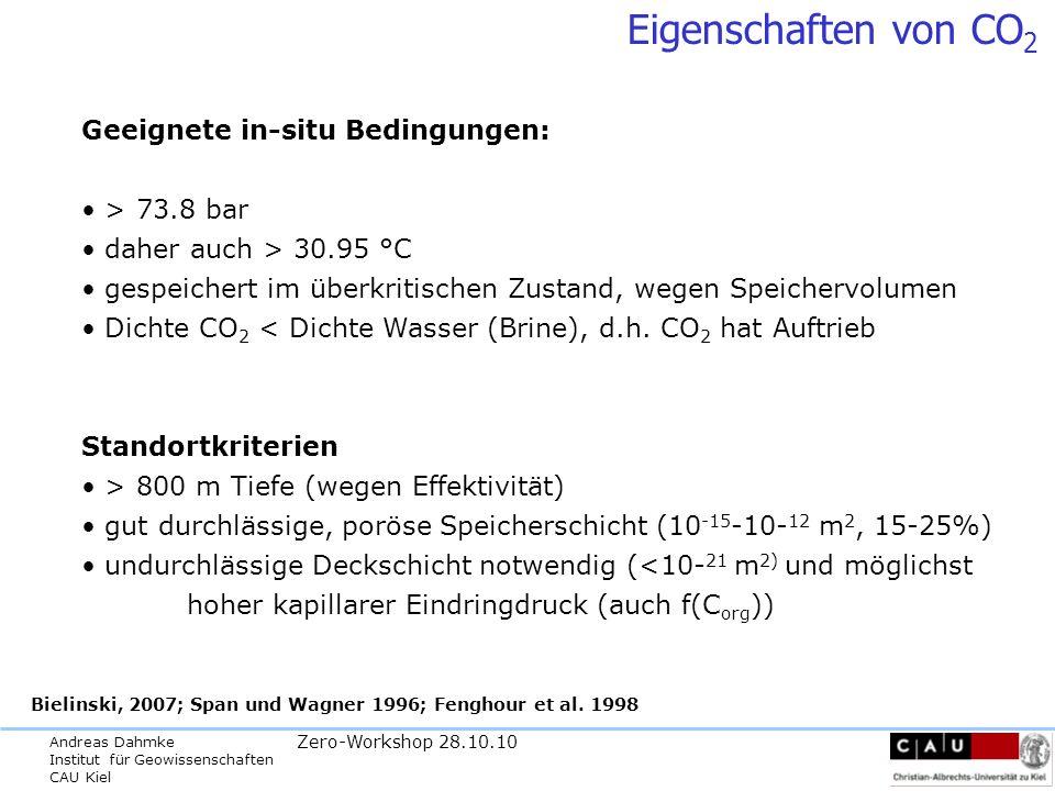 Andreas Dahmke Institut für Geowissenschaften CAU Kiel Zero-Workshop 28.10.10 Persönliches Fazit zur Rolle von CCS in Deutschland -vor dem Hintergrund der sich abzeichnenden Klimaverändeerung ist CCS eine der wenigen kurzfristig und quantitativ relevanten globalen Eingriffsoptionen - der Einsatz von CCS in Deutschland ist global hinsichtlich des Klimas nicht relevant, die Entwicklung der CCS-Technologie einschließlich Sicherheitsstandards sollte aber eine ethische Notwendigkeit für eine führende Industrienation sein - aus geologischer Sicht und in Relation zu akzeptierten Technologierisiken ist CCS nach ausreichender Erkundung und sachgerechter Ausführung unbedenklich für die relevanten Schutzgüter Grundwasser, Boden, Flora und Fauna (inkl.