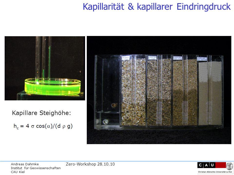 Andreas Dahmke Institut für Geowissenschaften CAU Kiel Zero-Workshop 28.10.10 Kapillarität & kapillarer Eindringdruck Kapillare Steighöhe: