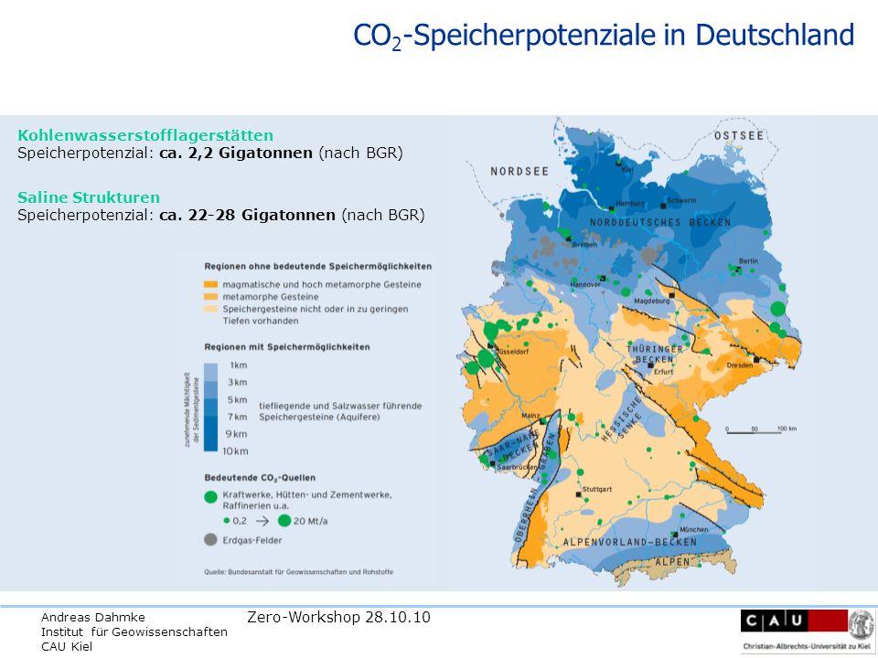 Andreas Dahmke Institut für Geowissenschaften CAU Kiel Zero-Workshop 28.10.10 CO 2 -Speicherpotenziale in Deutschland Saline Strukturen Speicherpotenzial: ca.