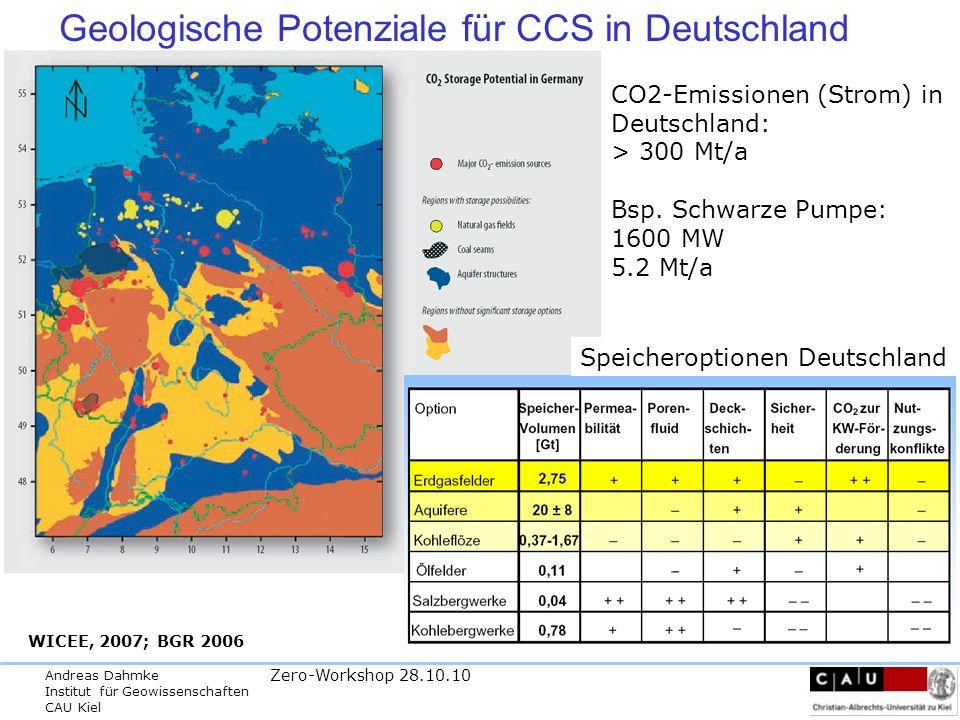 Andreas Dahmke Institut für Geowissenschaften CAU Kiel Zero-Workshop 28.10.10 derzeitige Speicherkapazitätangaben Deutschland 2003 (May et al., 2003) 33 +/- 10 Milliarden t CO 2 2005 (May et al.
