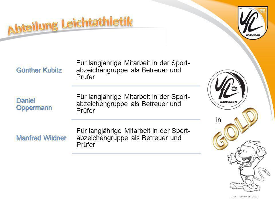 J.Gr. - November 2013 Günther Kubitz Für langjährige Mitarbeit in der Sport- abzeichengruppe als Betreuer und Prüfer Daniel Oppermann Für langjährige