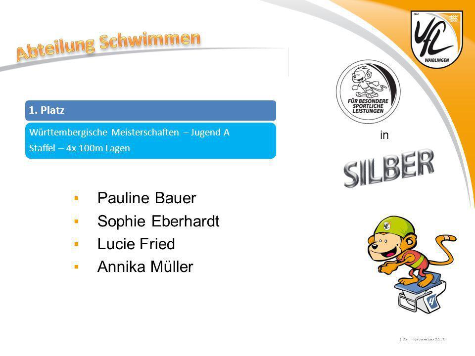 J.Gr. - November 2013 in Pauline Bauer Sophie Eberhardt Lucie Fried Annika Müller 1. Platz Württembergische Meisterschaften – Jugend A Staffel – 4x 10