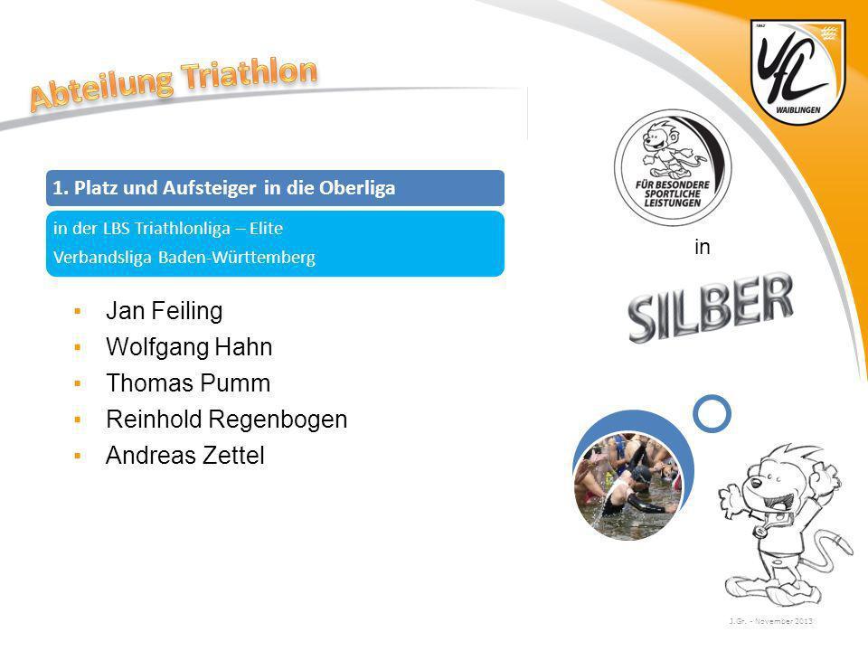 J.Gr. - November 2013 in Jan Feiling Wolfgang Hahn Thomas Pumm Reinhold Regenbogen Andreas Zettel 1. Platz und Aufsteiger in die Oberliga in der LBS T