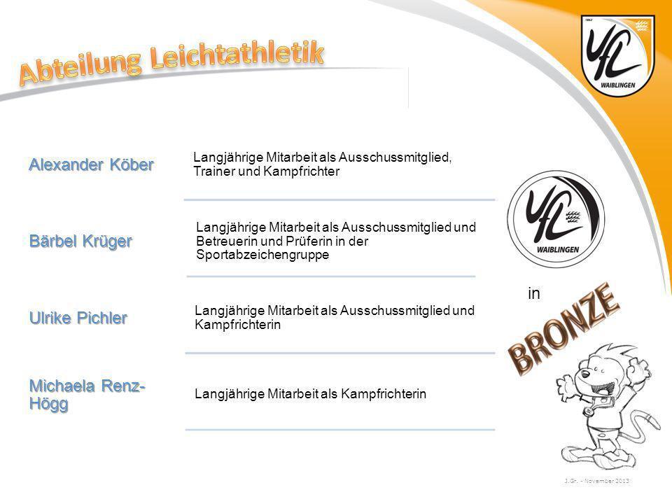 J.Gr. - November 2013 Alexander Köber Langjährige Mitarbeit als Ausschussmitglied, Trainer und Kampfrichter Bärbel Krüger Langjährige Mitarbeit als Au