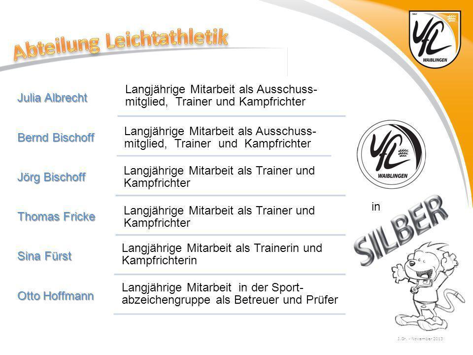 J.Gr. - November 2013 Julia Albrecht Langjährige Mitarbeit als Ausschuss- mitglied, Trainer und Kampfrichter Bernd Bischoff Langjährige Mitarbeit als