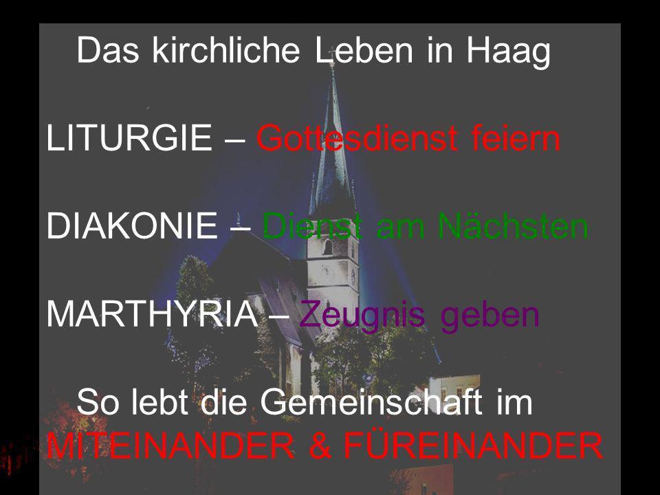 Das kirchliche Leben in Haag LITURGIE – Gottesdienst feiern DIAKONIE – Dienst am Nächsten MARTHYRIA – Zeugnis geben So lebt die Gemeinschaft im MITEIN