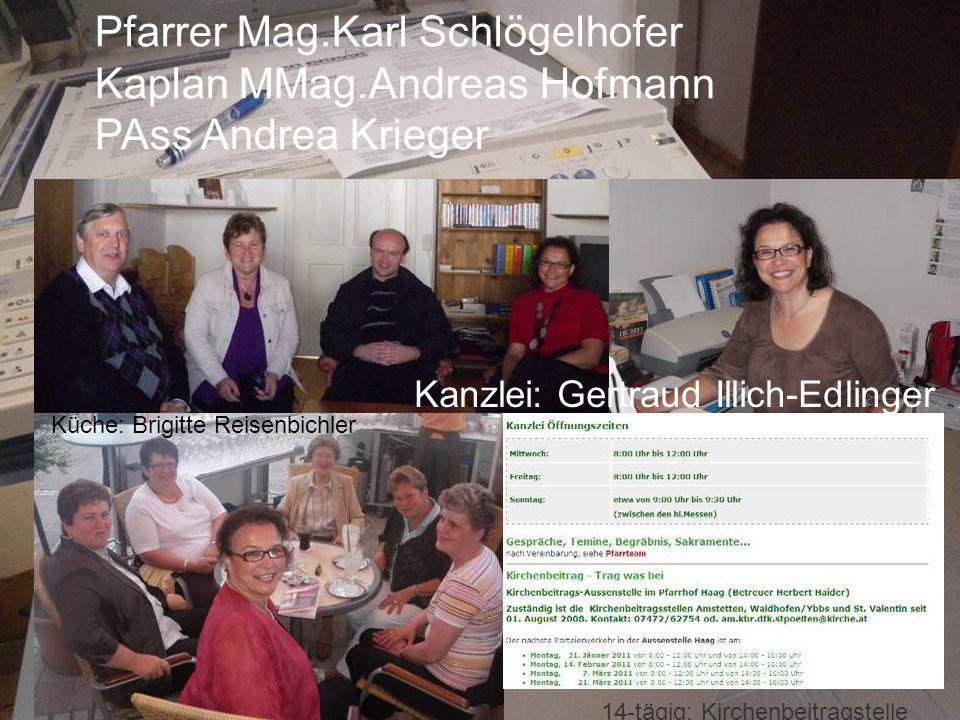 Pfarrer Mag.Karl Schlögelhofer Kaplan MMag.Andreas Hofmann PAss Andrea Krieger Kanzlei: Gertraud Illich-Edlinger Küche: Brigitte Reisenbichler 14-tägi