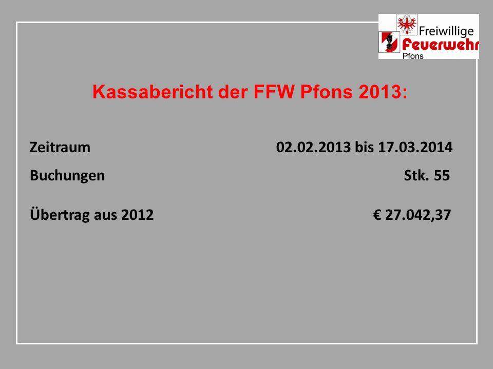 Kassabericht der FFW Pfons 2013: Zeitraum02.02.2013 bis 17.03.2014 Buchungen Stk.