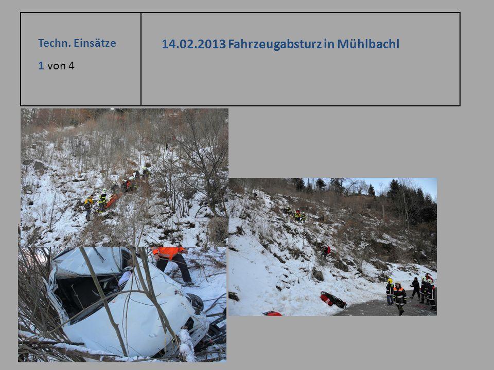 Techn. Einsätze 1 von 4 14.02.2013 Fahrzeugabsturz in Mühlbachl